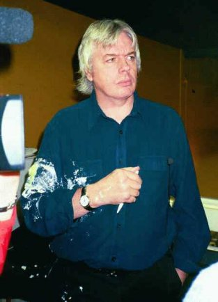 David Icke after being hit by a lemon merangue pie